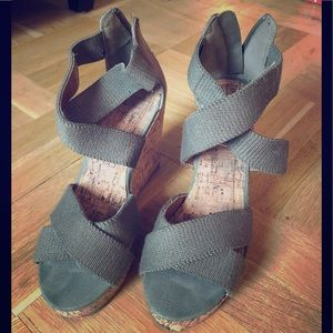 Olive Green Wedge Sandals